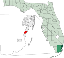 Location in Miami-Dade and the state of فلوریدا.