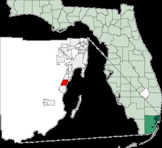 Palmetto Bay, Florida - Image: Map of Florida highlighting Palmetto Bay