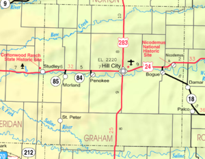 Graham County, Kansas - Image: Map of Graham Co, Ks, USA