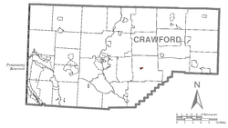 Location of Guys Mills in Crawford County