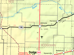 Jetmore, Kansas - Image: Map of Hodgeman Co, Ks, USA