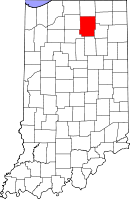Map of Indiana highlighting Kosciusko County
