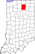 State map highlighting Kosciusko County