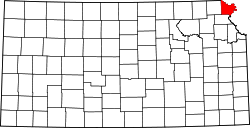 Map of Kansas highlighting Doniphan County.svg