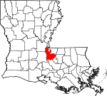 State map highlighting Pointe Coupee Parish