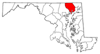 Map of Maryland highlighting Harford County.png