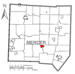 Map of Mercer, Mercer County, Pennsylvania Highlighted.png