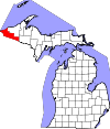 State map highlighting Gogebic County