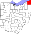 State map highlighting Ashtabula County