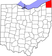 Map of Ohio highlighting Ashtabula County
