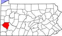 Map of Pennsylvania highlighting Allegheny County