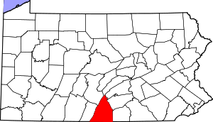 Map of Pennsylvania highlighting Franklin County