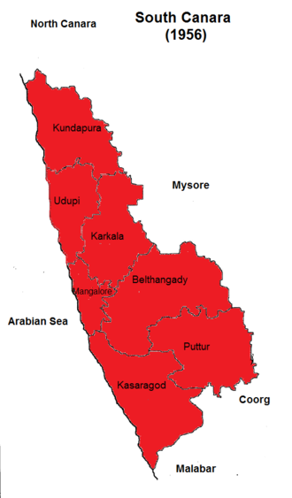South Canara - Image: Map of South Canara district in 1956. Self work