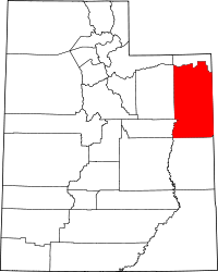 Map of Utah highlighting Uintah County