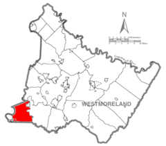 Map of Westmoreland County, Pennsylvania Highlighting Rostraver Township.PNG