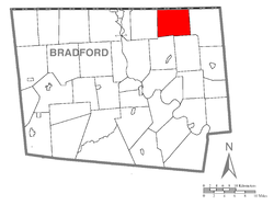 Map of Bradford County with Windham Township highlighted