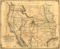 Map of the United States West of the Mississippi Showing the Routes to Pike's Peak, Overland Mail Route to California, and Pacific Railroad Surveys, 1859 WDL9560.png