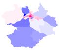 Mapa da distribuição da população por sexo nos bairros de Santa Maria (Rio Grande do Sul). Censo IBGE de 2010.png