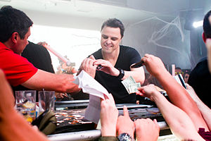 Markus Schulz - Schulz signing autographs for fans at Sutra in Orange County, California, 2012.