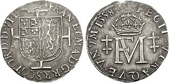 Shilling (English coin) - Image: Mary & Francis Testoon 1558 77001705