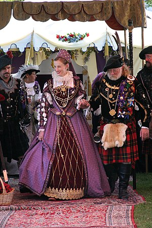 Living history - A reenactor playing the role of Mary Queen of Scots at a Scottish fair in 2003.