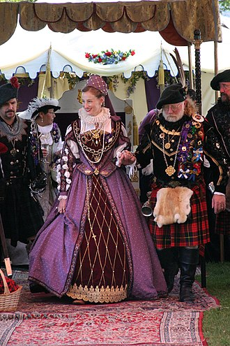 Living history - A reenactress playing the role of Mary Queen of Scots at a Scottish fair in 2003.