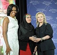 Maryam Durani receiving 2012 International Women of Courage Award.jpg