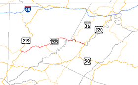 A map of far western Maryland showing major roads.  Maryland Route 135 connects Oakland with southern Allegany County.