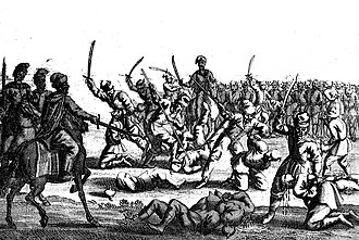 Battle of Batih - Massacre of bound prisoners after the battle of Batoh, from Hiob Ludolf in the collections of National Library of Poland