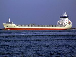 Matfen IMO 9184653 - Callsign V2ON5 leaving Port of Rotterdam 18-Jan-2005.jpg