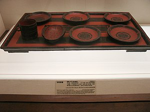 Mawangdui - Western Han (202 BC - 9 AD) era lacquerwares and lacquer tray unearthed from the 2nd-century-BC Han Tomb No.1 at Mawangdui