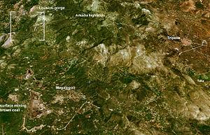 Megalopoli Mine - Landsat 7 image showing the mine in relation to Megalopoli