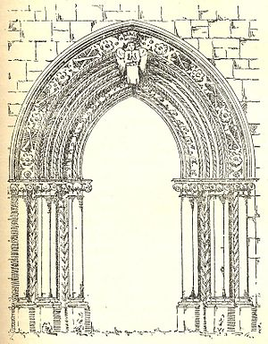Mellifont Abbey - Drawing of the doorway to the chapter house from 1755, shortly before it was removed from the site.