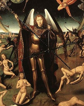 Daniel's final vision - The Archangel Michael weighing souls on Judgement Day. Hans Memling, 15th century.