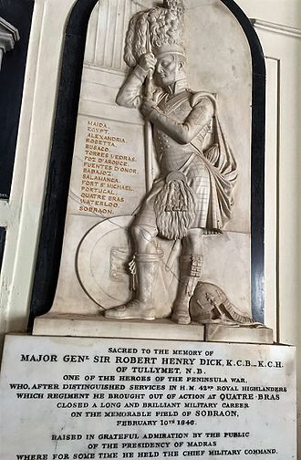 42nd Regiment of Foot - Memorial to Sir Robert Henry Dick at the St. George's Cathedral, Madras, India, depicting a 42nd Highlander in full uniform resting against a pedestal, on which is inscribed the battle roll of the regiment