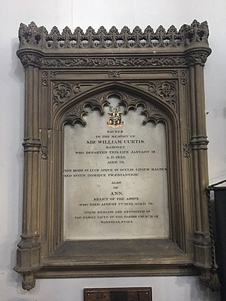 Sir William Curtis, 1st Baronet - Memorial to Sir William Curtis in St George's Church, Ramsgate, Kent