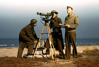 Joint Expeditionary Base Fort Story - Three men stationed at Fort Story operating an azimuth instrument,  1942