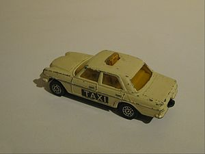 "Husky Toys - A Matchbox sized Corgi Jr. Mercedes-Benz 240 Diesel Taxi. The Husky name was rebranded ""Corgi Jr."" about 1970."