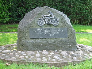 Meriden, West Midlands - Commemorative plaque outside the former site of the Triumph factory at Meriden unveiled on 7 October 2005