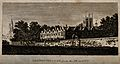Merton College, Oxford; from the meadows. Line engraving. Wellcome V0014136.jpg