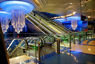 Rail transport in the United Arab Emirates - Dubai Metro on its opening day September 10, 2009. BurJuman.