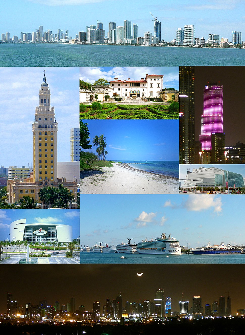 From top, left to right: Skyline of Downtown, Freedom Tower, Villa Vizcaya, Miami Tower, Virginia Key Beach, Adrienne Arsht Center for the Performing Arts, American Airlines Arena, Port of Miami, the Moon over Miami