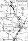 1955 map of the proposed Michigan Turnpike