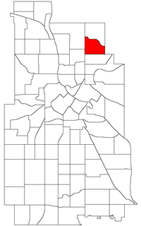 Location of Audubon Park within the U.S. city of Minneapolis