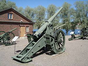 42-line fortress and siege gun Pattern of 1877 - M1877 in Hämeenlinna Artillery Museum.
