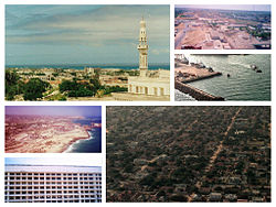 Clockwise, from top left: the Mosque of Islamic Solidarity, an aerial view of the city, the Port of Mogadishu, a US helicopter flying over the city during Operation Restore Hope, a building of the Somali National University, and the Mogadishu coastline