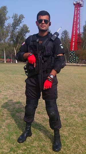 Law enforcement in Pakistan - A young Pakistani Elite Police commando.