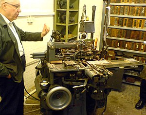 Type Museum - A Monotype machine at the Type Museum, photographed in 2006.