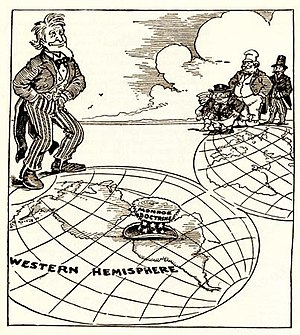 "America's Backyard - A 1912 newspaper cartoon highlighting America's influence in protecting neighboring countries in its ""backyard"" from European colonial expansion in the century following the Monroe Doctrine."