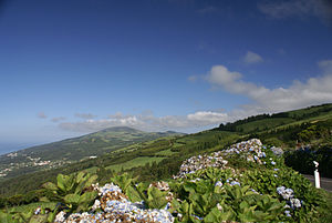 Calheta, Azores - Interior range of the Volcanic Complex of Topo, dividing the northern and southern parishes of the municipality of Calheta